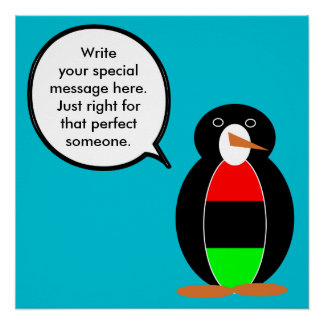 African American Talking Penguin Perfect Poster