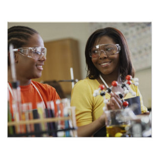 African American teenagers in science class Poster