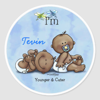 African American Twin Boys Classic Round Sticker