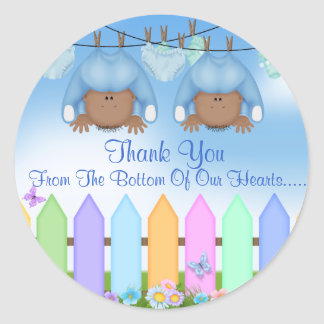 AFRICAN AMERICAN Twin Boys THANK YOU FAVORS Round Sticker