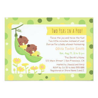 African American Twin Peas Baby Shower Invitations