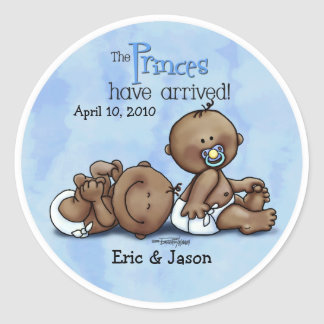 African American Twin Princes Round Sticker