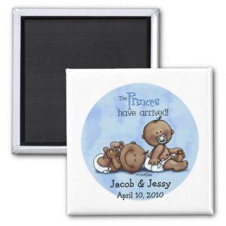 African American Twin Princes Square Magnet