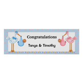 African American Twins Baby Shower Banner Poster