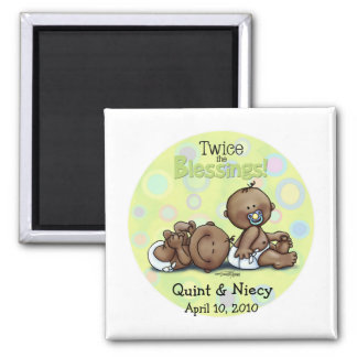 African American Twins Twice Blessed Square Magnet