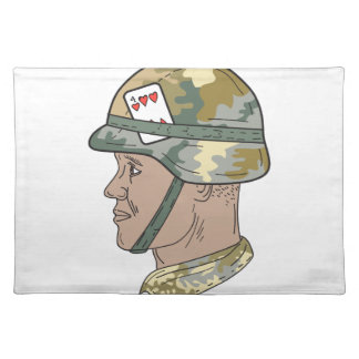 African American US Army Soldier Helmet Playing Ca Placemat