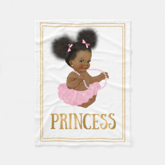 African American Vintage Baby Girl Fleece Blanket