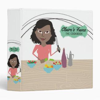 African American woman cooking recipe cookbook Binder