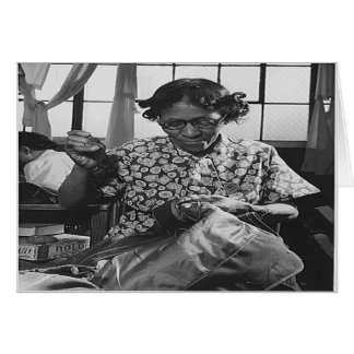 African American Woman Sewing for War Effort 1942 Card