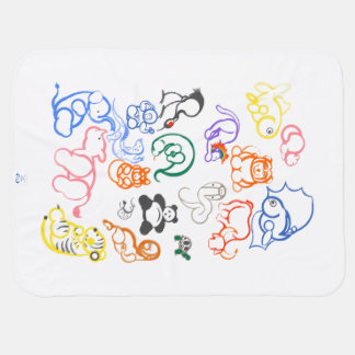 African and Asian Animals Baby Blanket