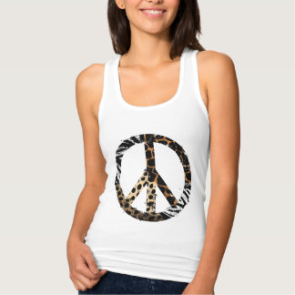 African Animal Pattern Peace Symbol Tank Top