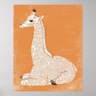 African Animal Series - Baby Giraffe Poster