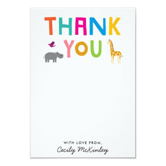 African Animals Flat Thank You Note Card