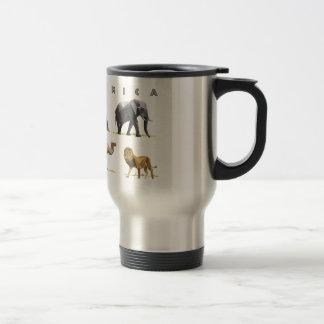 african animals lion, elephant, camel, baboon travel mug