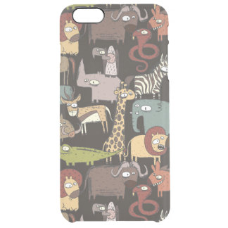 African Animals Pattern Clear iPhone 6 Plus Case