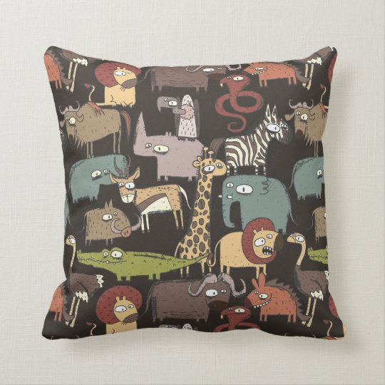 African Animals Pattern Throw Pillow