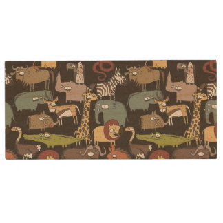 African Animals Pattern Wood USB 2.0 Flash Drive