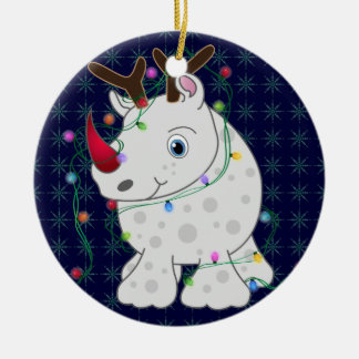 African Animals Rhino Christmas Style 1 Round Ceramic Ornament