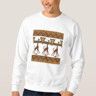 African Art Giraffes Embroidered Sweatshirt