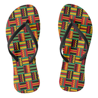 African Basket Weave Pride Red Yellow Green Black Flip Flops