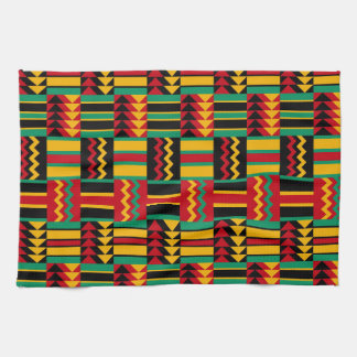 African Basket Weave Pride Red Yellow Green Black Kitchen Towel