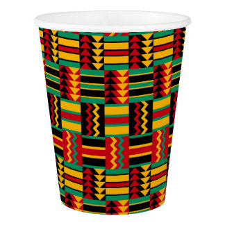 African Basket Weave Pride Red Yellow Green Black Paper Cup