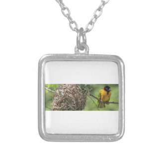 African Bird and Her Grass Nest Silver Plated Necklace
