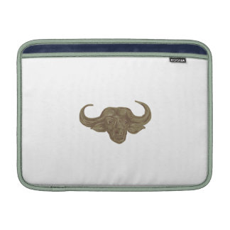 African Buffalo Head Drawing MacBook Sleeves