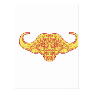African Buffalo Head Mono Line Postcard