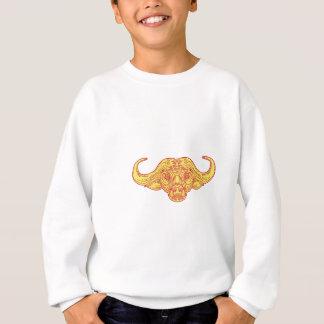 African Buffalo Head Mono Line Sweatshirt