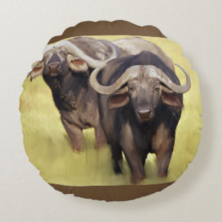 African Buffalo Round Pillow