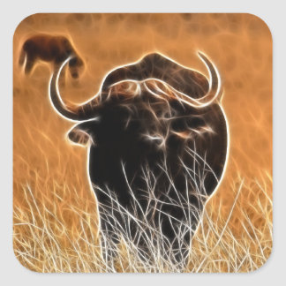 African Buffalo Square Sticker