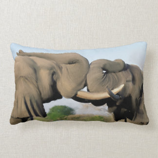 African Bull Elephants Lumbar Pillow