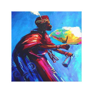 African canvas art (Eyo drummer)