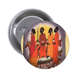 African Christmas Nativity Scene 2 Inch Round Button
