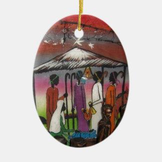 African Christmas Nativity Scene Ceramic Ornament