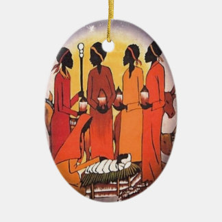 African Christmas Nativity Scene Ceramic Oval Ornament