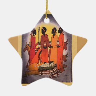 African Christmas Nativity Scene Ceramic Star Ornament