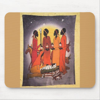 African Christmas Nativity Scene Mouse Pad