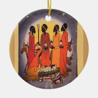 African Christmas Nativity Scene Round Ceramic Ornament