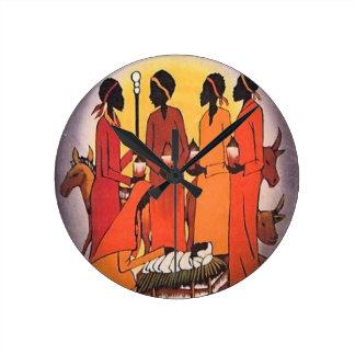 African Christmas Nativity Scene Round Clock