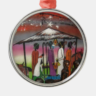 African Christmas Nativity Scene Silver-Colored Round Ornament