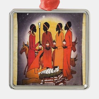African Christmas Nativity Scene Silver-Colored Square Ornament
