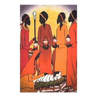 African Christmas Nativity Scene Stationery
