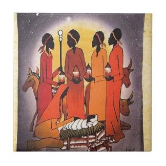 African Christmas Nativity Scene Tile