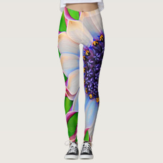 African Daisy  Purple and Pink Yoga Workout Leggings