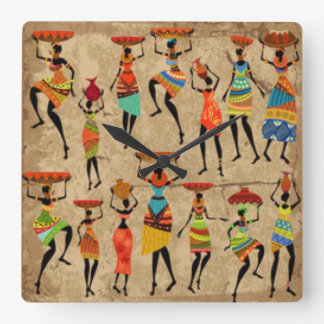 African Dancing Ladies Clocks