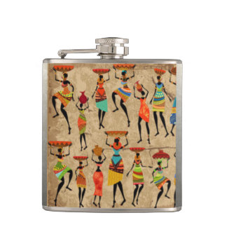 African Dancing Ladies Flask