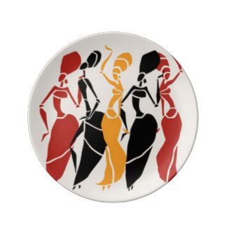 African Dancing Ladies Plate