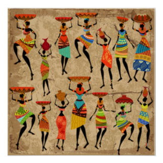 African Dancing Ladies Poster